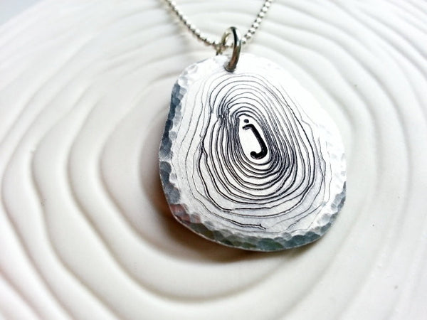 Large Tree Slice Necklace- Personalized, Hand Engraved Aluminum Wood Grain Necklace
