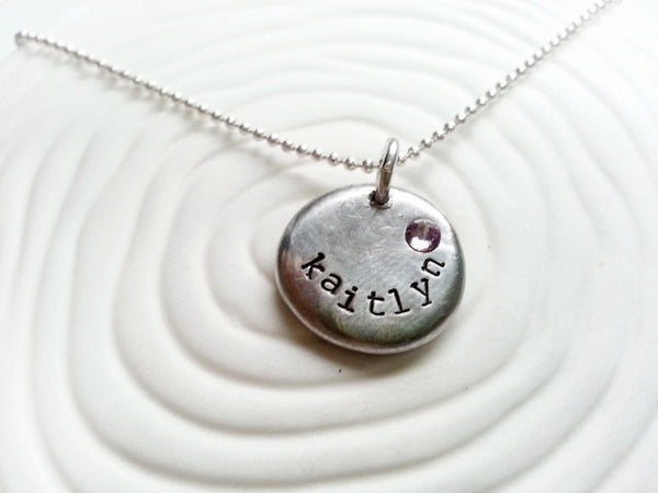 Personalized Name and Birthstone Necklace- Hand Stamped Mother's Necklace