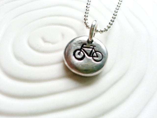 Personalized Hand Stamped Bicycle Necklace- Bike Necklace Charm