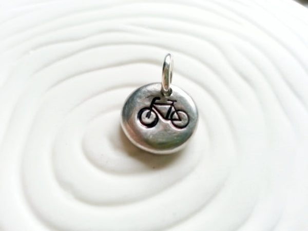 Bicycle Charm- Personalized, Hand Stamped Bike Charm
