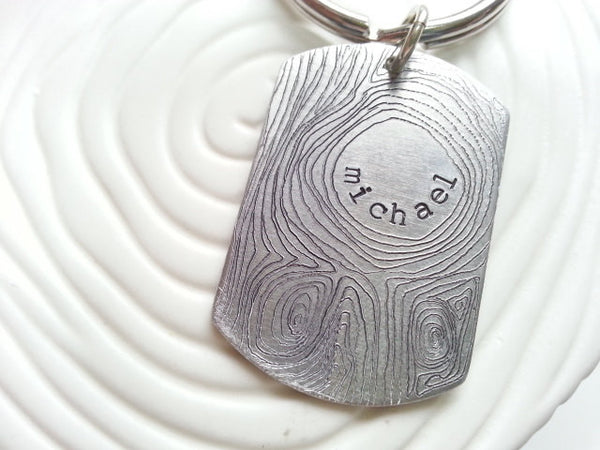 Personalized Keychain- Wood Grain Personalized Engraved Men's Key Chain- Groomsman Gift