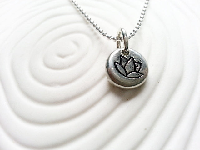 Lotus Neclace - Personalized Hand Stamped Lotus Flower Pendant - Yoga Jewelry