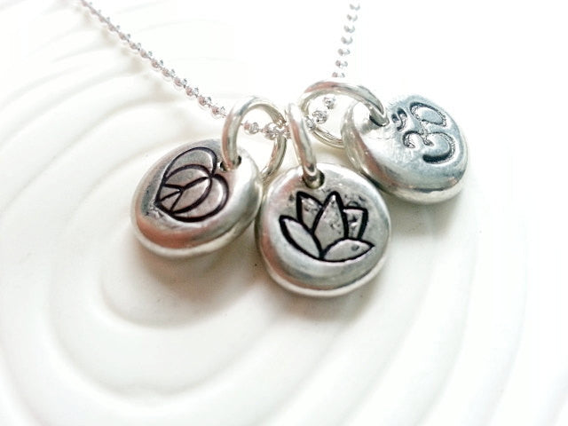 Personalized Hand Stamped Yoga Necklace - Peace Sign, Ohm and Lotus Flower Charms