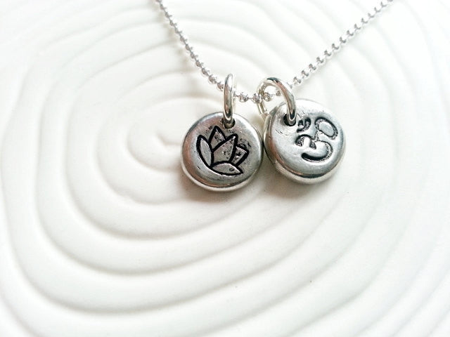 Personalized Hand Stamped Yoga Necklace -  Ohm and Lotus Flower Charms