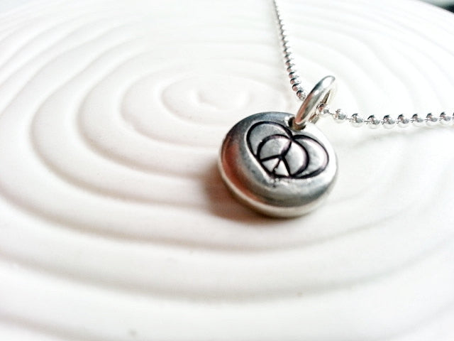 Peace and Love Necklace - Peace Sign with Heart Personalized Hand Stamped Charm