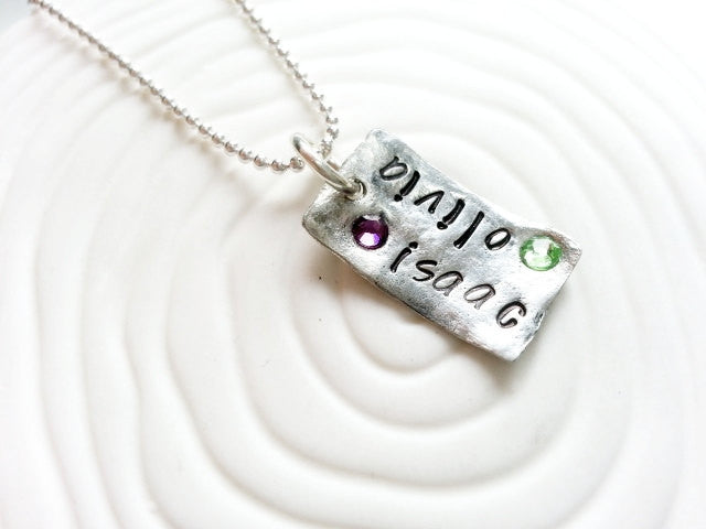Personalized Hand Stamped Birthstone Two Name Necklace- Mother's Necklace
