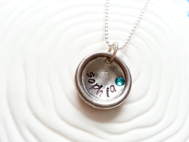 Personalized Hand Stamped Upcycled Vintage Button Birthstone Name Necklace - Stamped Name Birthstone Necklace
