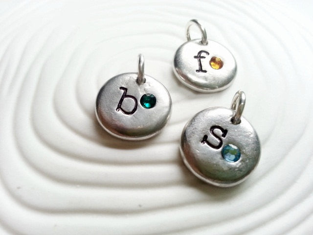 Personalized Hand Stamped Initial and Birthstone Necklace Charm for Mother's Necklace