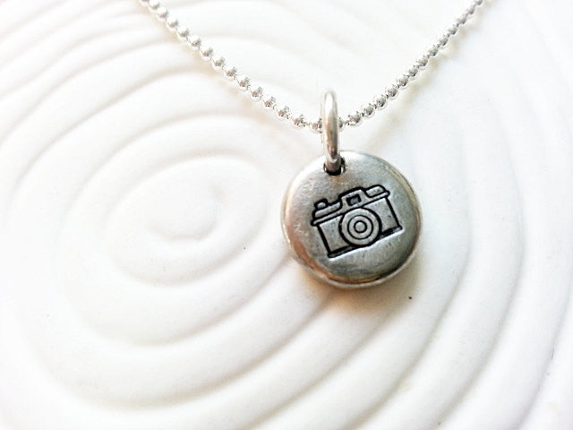 Vintage Camera Photography Personalized Jewelry- Hand Stamped Camera Necklace