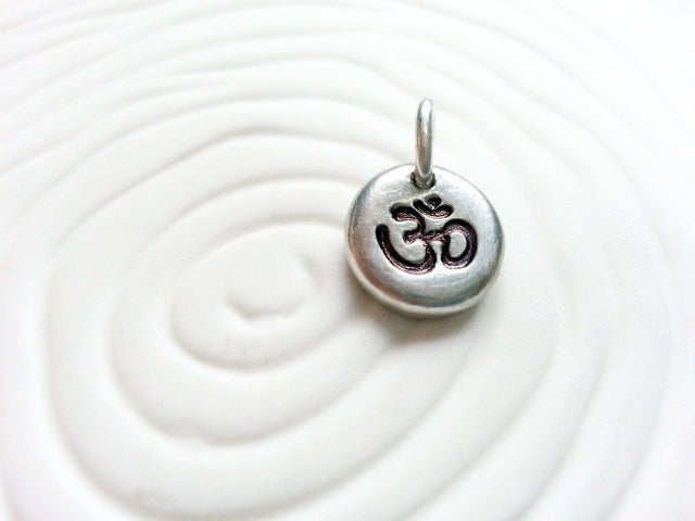 Ohm Charm - Yoga Charm - Hand Stamped Personalized Yoga Necklace Charm