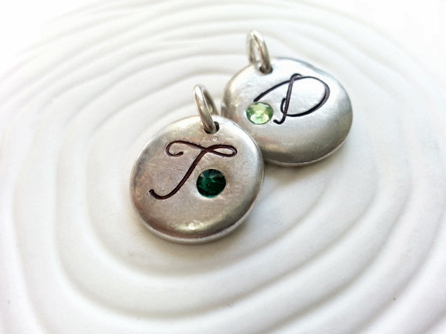 Personalized Hand Stamped Script Initial and Birthstone Necklace Charm for Mother's Necklace