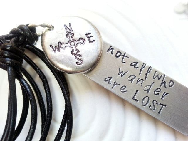 Hand Stamped Personalized Necklace- Customized Text- Man's Necklace - Not All Who Wander Are Lost Compass Necklace