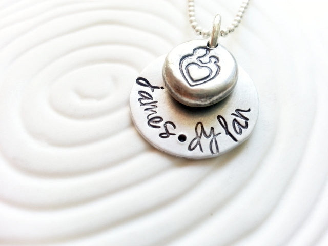 Personalized Mother's Necklace- Mother and Child with Children's Names Hand Stamped Necklace