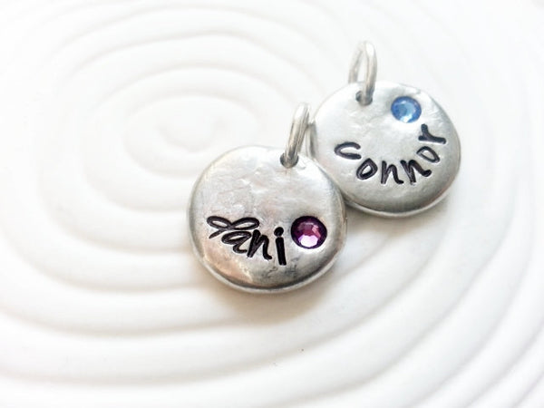 Personalized Hand Stamped Name and Birthstone Necklace Charm for Mother's Necklace