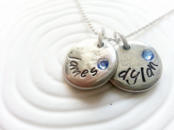 Personalized Hand Stamped Birthstone Name Necklace- Mother's Necklace