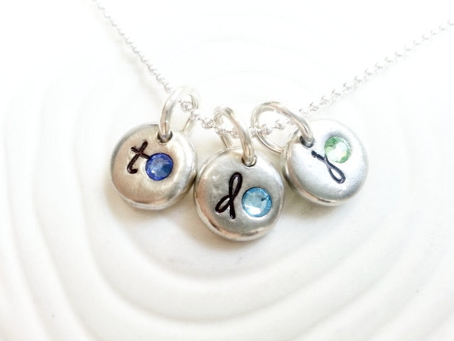 Personalized Hand Stamped Birthstone Initial Necklace - Three Initial and Birthstone Mother's Necklace - Mother's Day Gift