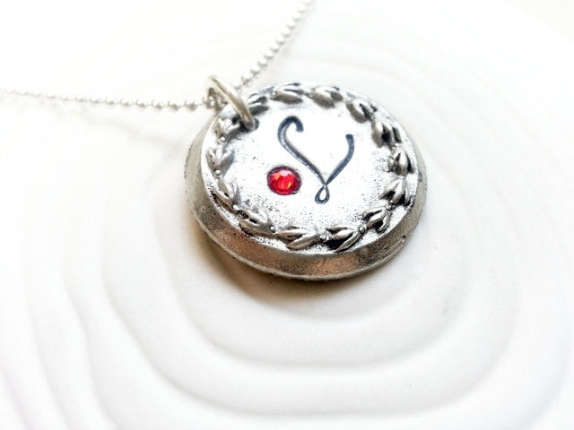 Personalized Hand Stamped Upcycled Vintage Button Necklace - Stamped Initial Necklace