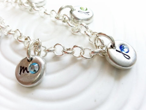 Birthstone Charm Bracelet | Grandmother's Initial Bracelet | Mother's Jewelry