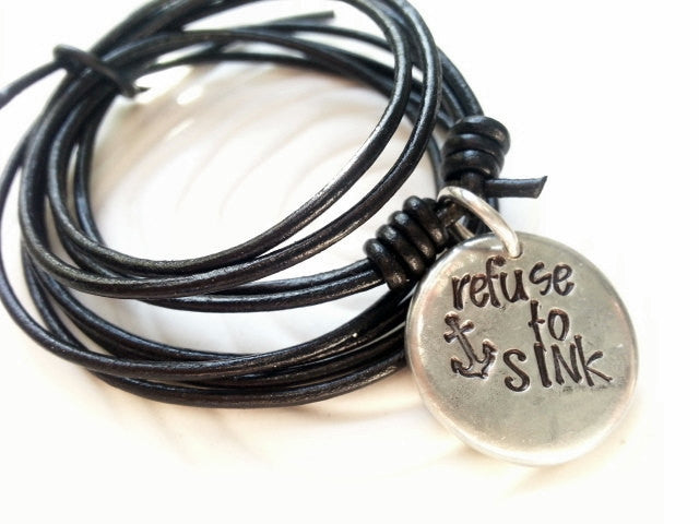 Hand Stamped Personalized Necklace- Customized Text- Man's Necklace - Unisex Leather Necklace - Refuse to Sink
