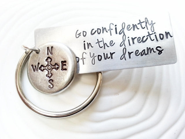 Hand Stamped Personalized Keychain -Go Confidently in the Direction of Your Dreams - Thoreau Quote - Graduation Gift - Men's Gift