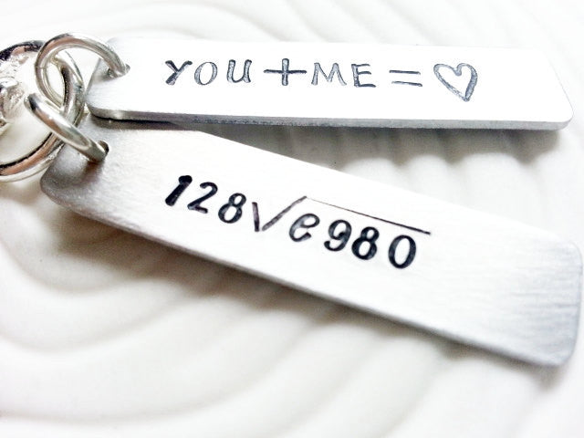 Hand Stamped, Personalized Love Equation Keychain - Swivel Clip with 2 Custom Tags - Graduation, Father's Day & Geek Gift