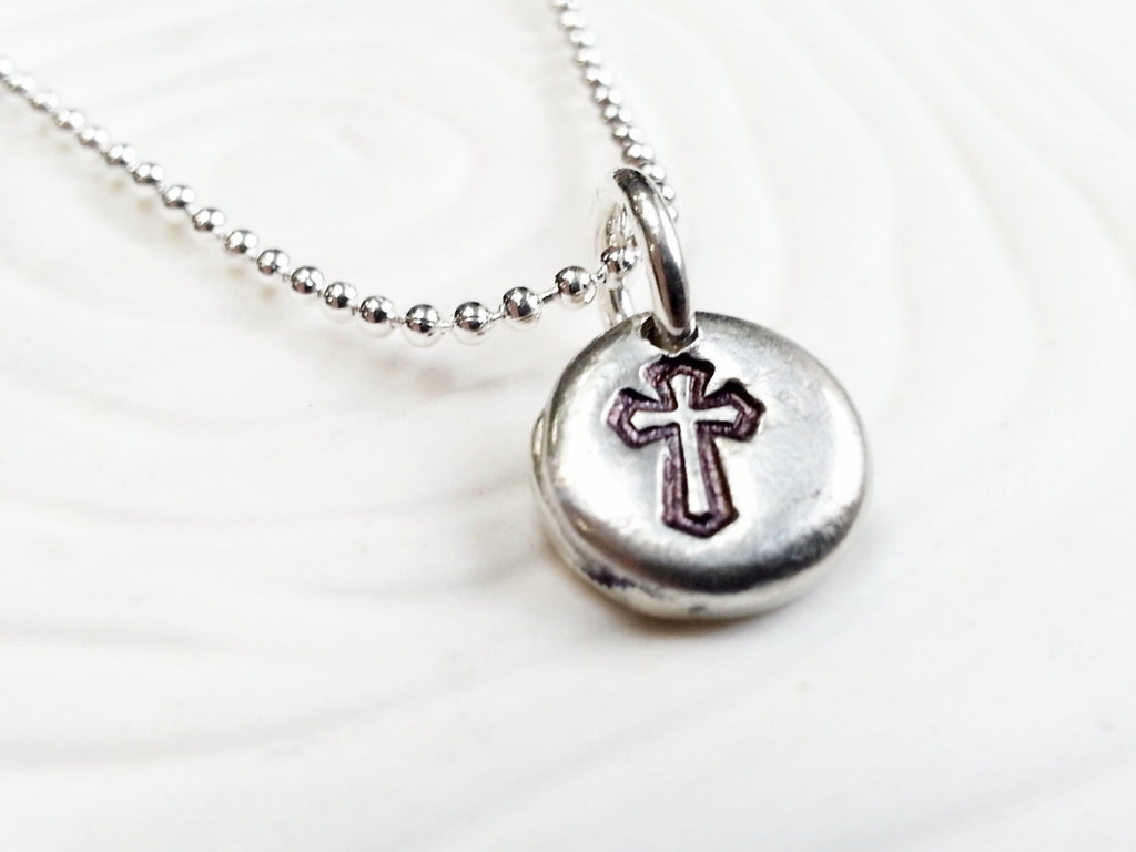 Hand Stamped Cross Necklace - Personalized Crucifix Pendant