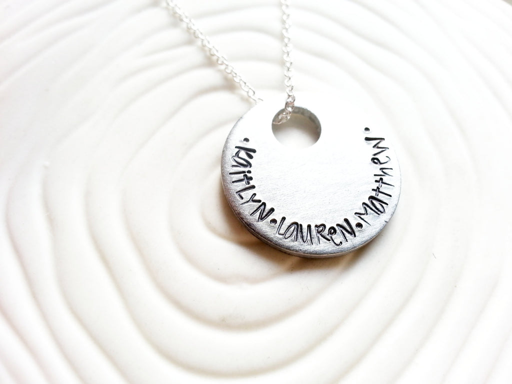 Mother's Necklace - Child's Name Hand Stamped Personalized Disc Necklace - Name Charm - Customized Jewelry - Engraved Pendant