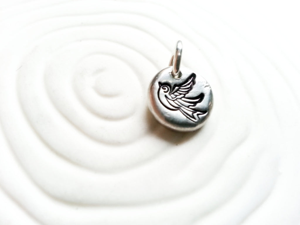 Tattoo Sparrow Charm - Hand Stamped, Personalized Bird Necklace Charm - Tiny Bird Charm