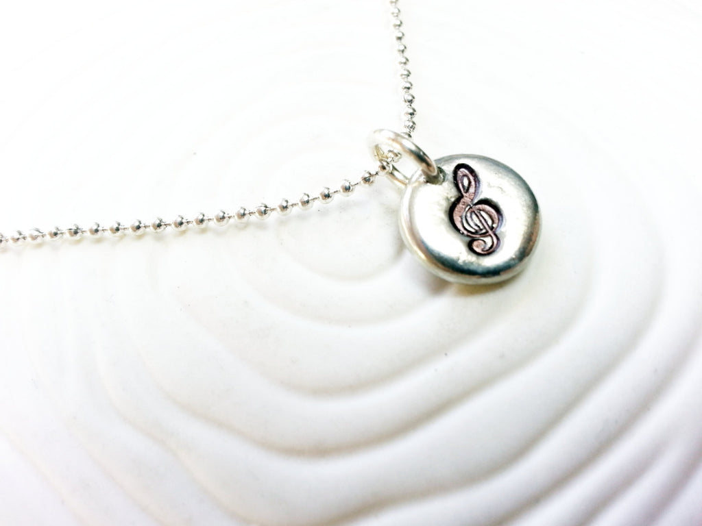 G Clef - Treble Clef Hand Stamped Personalized Necklace - Music Lover's Gift- Musician Gift