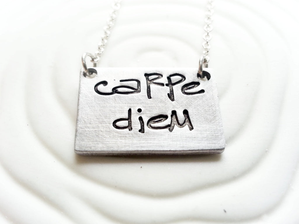 Carpe Diem Necklace - Hand Stamped, Personalized Graffiti Lettering Custom Text Necklace