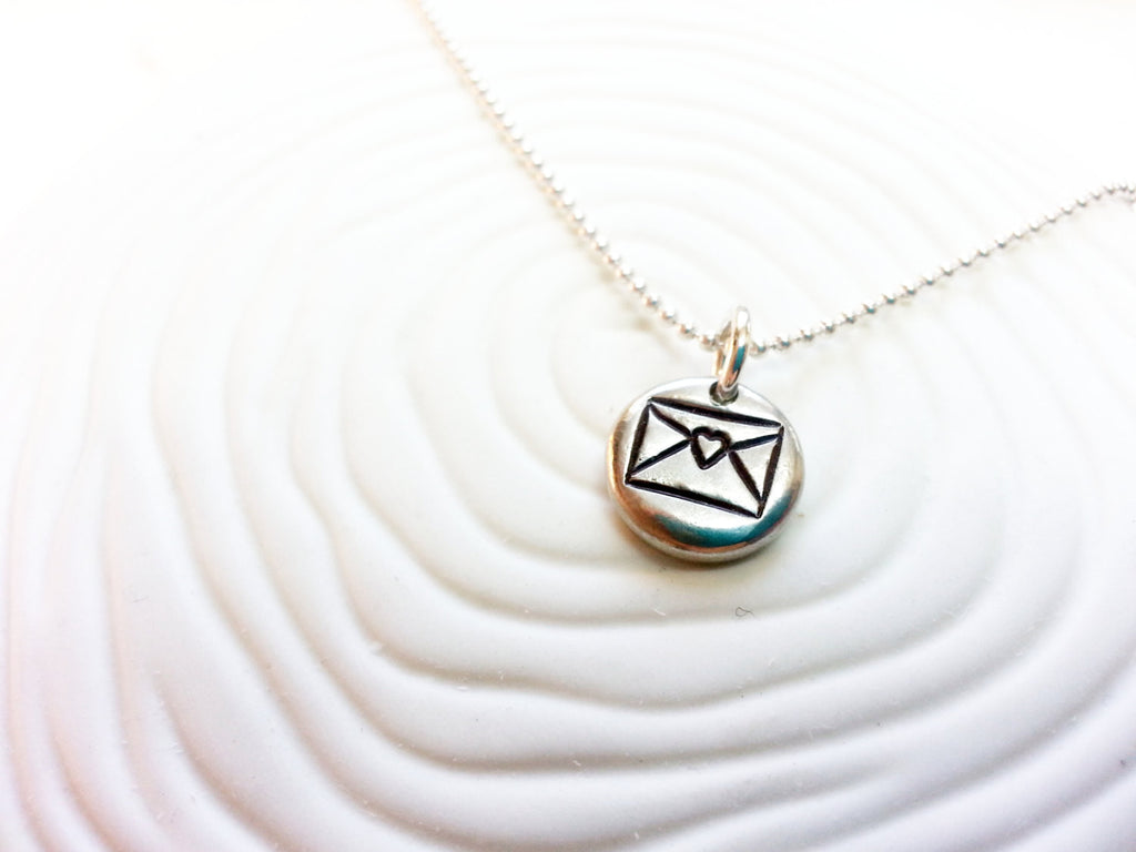 Love Letter - Personalized, Hand Stamped Envelope Charm - Love Heart Envelope Pendant