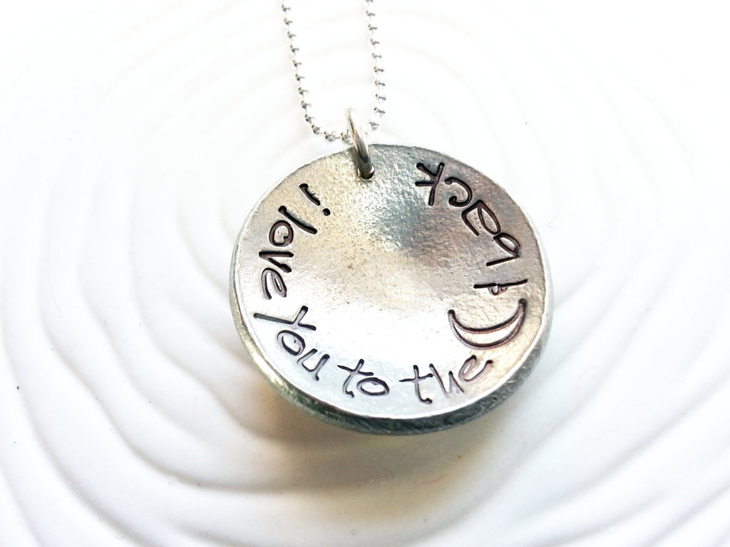 Personalized, Hand Stamped- I Love You To The Moon & Back Necklace - Upcycled Button Necklace - Custom Text - Concave Shaped Pendant