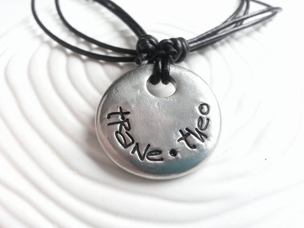 Hand Stamped, Personalized Large Pewter Pebble and Leather Necklace - Man's Necklace - Graffiti Necklace - Custom Text
