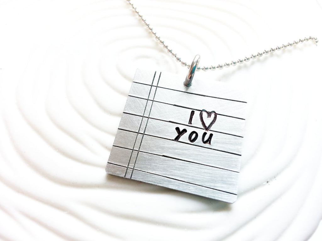 Personalized Love Note Necklace - Hand Stamped Notebook Paper Necklace - Customize Your Text - Gift for Her