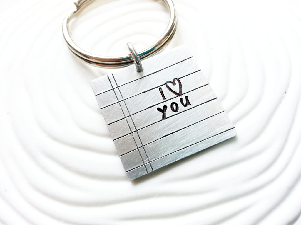 Personalized Love Note Keychain - Hand Stamped Notebook Paper Keyring - Customize Your Text - Gift for Him