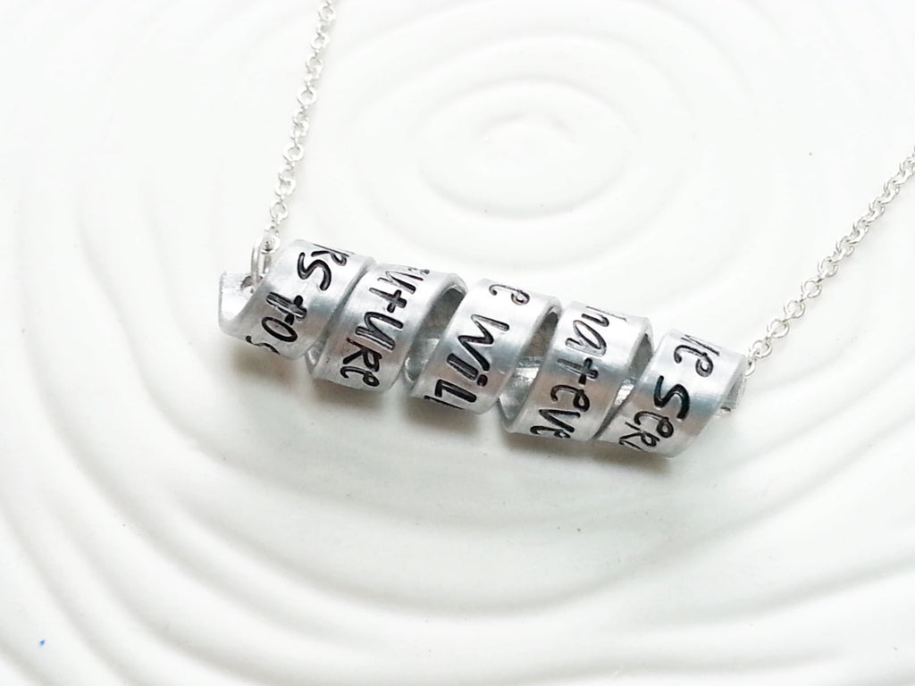 Secret Message Necklace - Hand Stamped, Personalized Custom Text  Swirled Bar Necklace