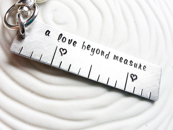 A Love Beyond Measure Ruler Keychain Or Swivel Clip