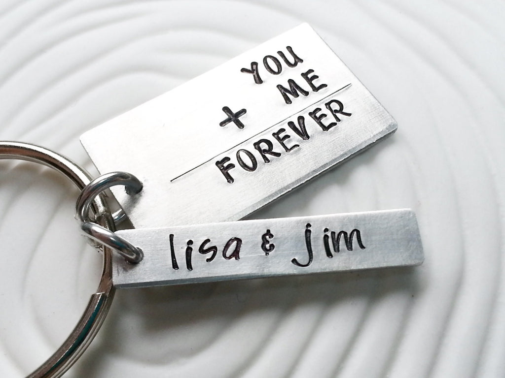 You + Me = Forever Keychain - Couples Keychain - Hand Stamped, Personalized Gift for Her - Gift For Him - Math Equation Keychain -Geek Gift