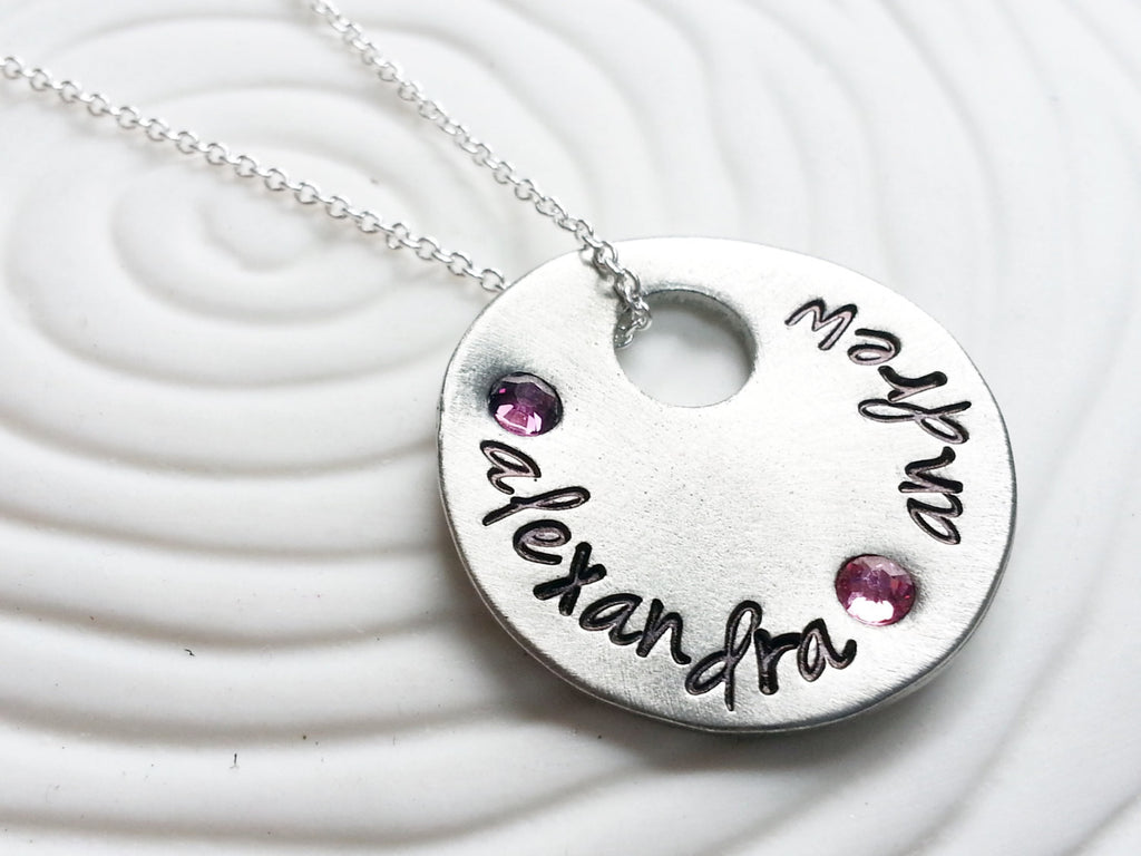 Mother's Necklace - Hand Stamped, Personalized Birthstone Floating Charm Necklace - Grandmother's Necklace - Gift for Her
