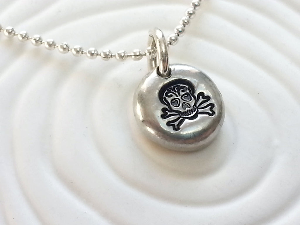 Sugar Skull Necklace - Personalized Jewelry - Dia De Los Muerta - Hand Stamped Skull Necklace - Day of the Dead - Skull Jewelry