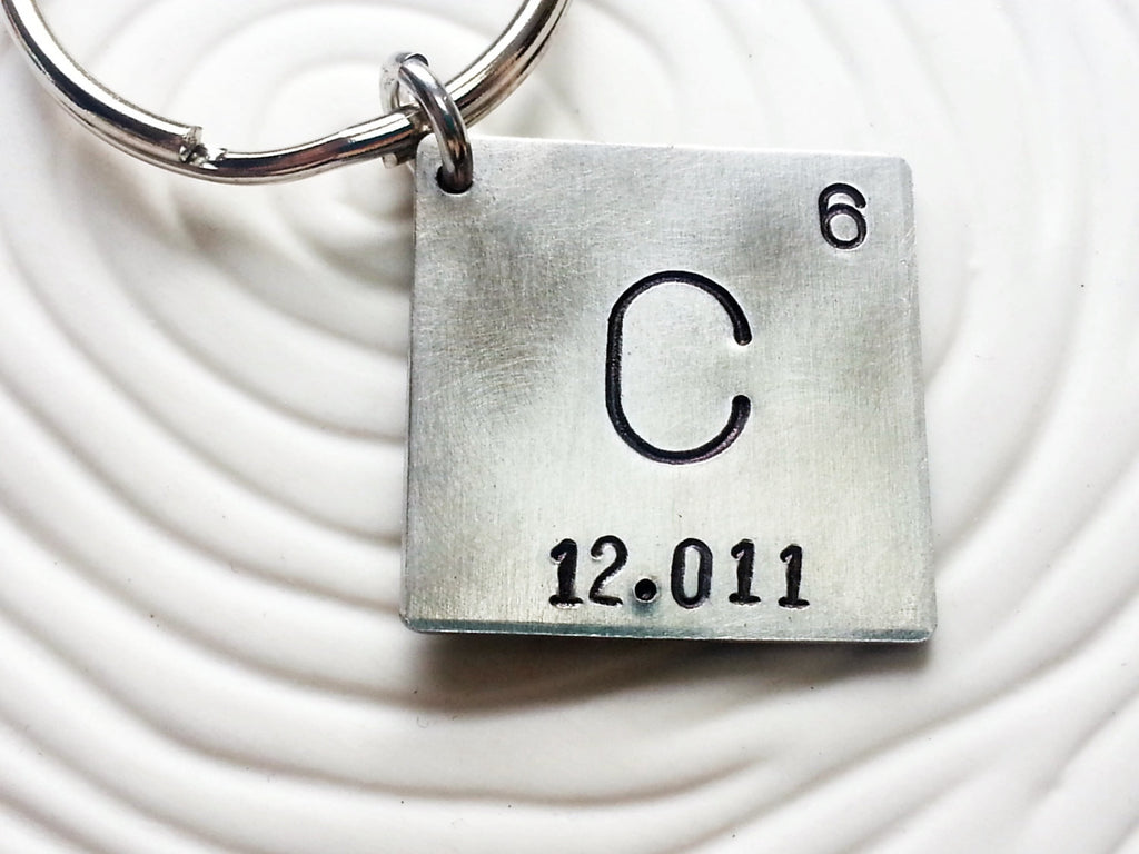 Hand Stamped, Personalized - Periodic Table Elements Keychain - Father's Day Gift - Men's Keychain - Geek Gift