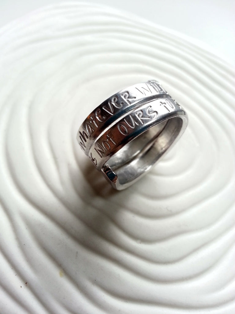Secret Message Ring -  Hand Stamped Personalized Message Ring - Engraved Message - One Piece Stacked Look Message Ring