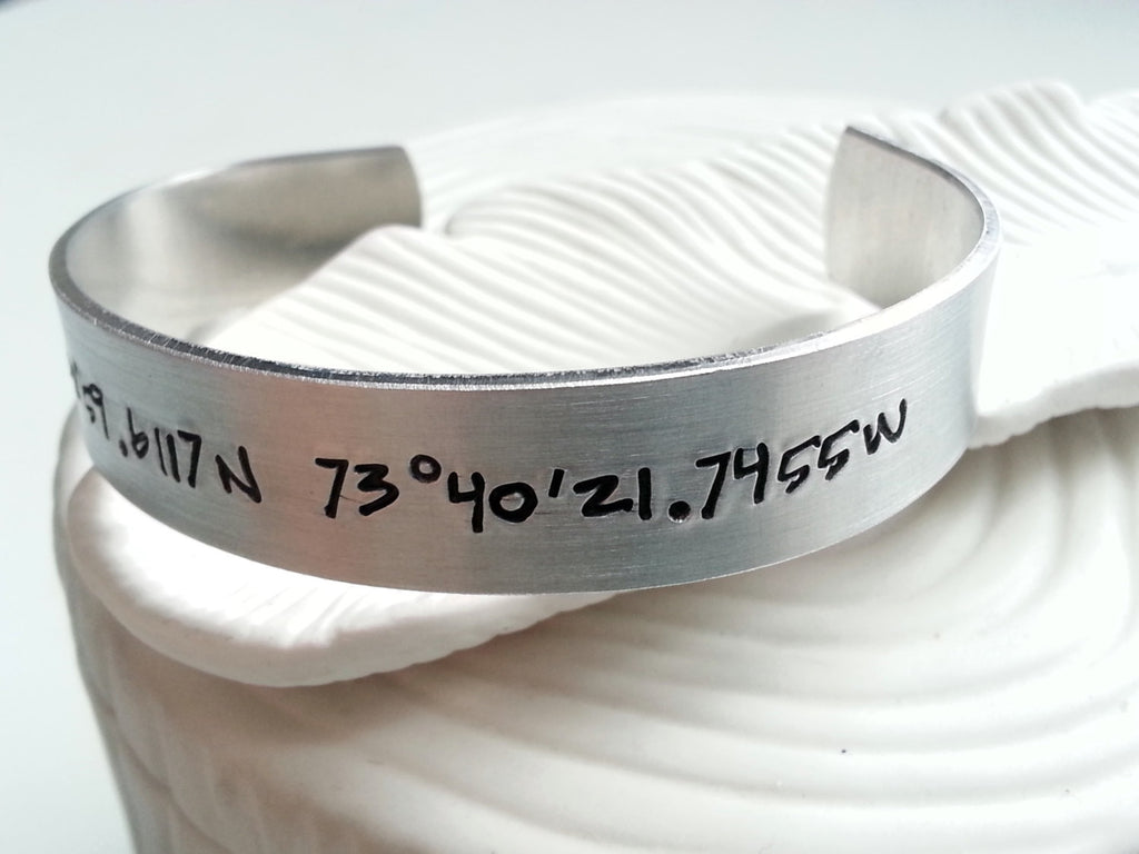 Latitude and Longitude Wide Cuff Bracelet - Graffiti Text Cuff - Personalized, Hand Stamped Bracelet - Valentine's Day Gift
