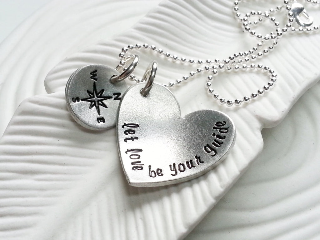 Let Love Be Your Guide - Compass Necklace - Hand Stamped, Personalized Heart with Compass - Valentine's Day Gift - Gift for Her