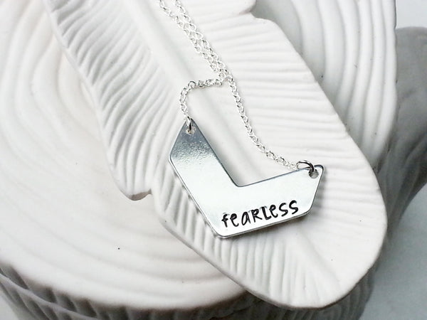 Chevron Necklace - Hand Stamped Personalized Chevron Bar Necklace - ID Bar Necklace - Engraved Jewelry - Chevron Jewelry - Gift for Her