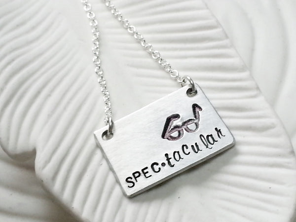 Spec-tacular Necklace - Hand Stamped Personalized Glasses Necklace - Custom Text Necklace - Gift for Her - Geek Gift - Bar Necklace