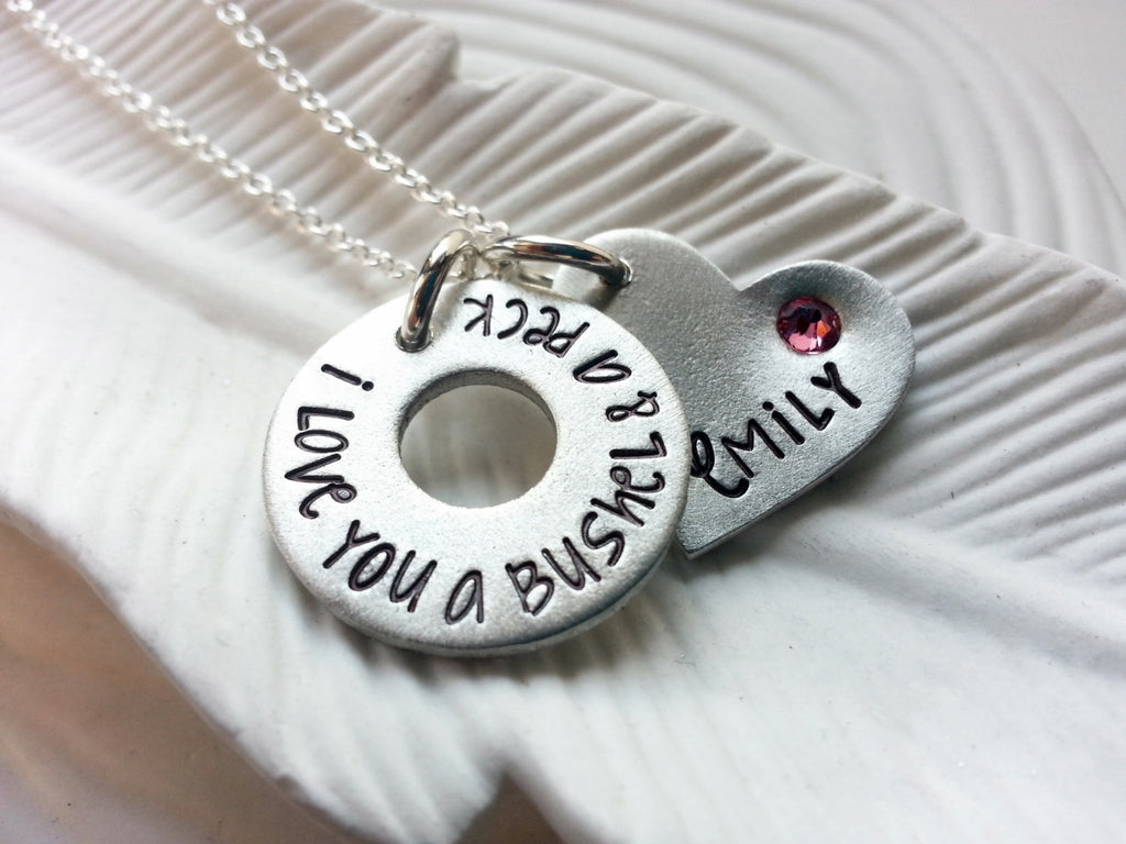 I Love You A Bushel & A Peck Necklace - Birthstone Washer and Heart Necklace- Mother's Necklace- Hand Stamped, Personalized- Valentine's Day