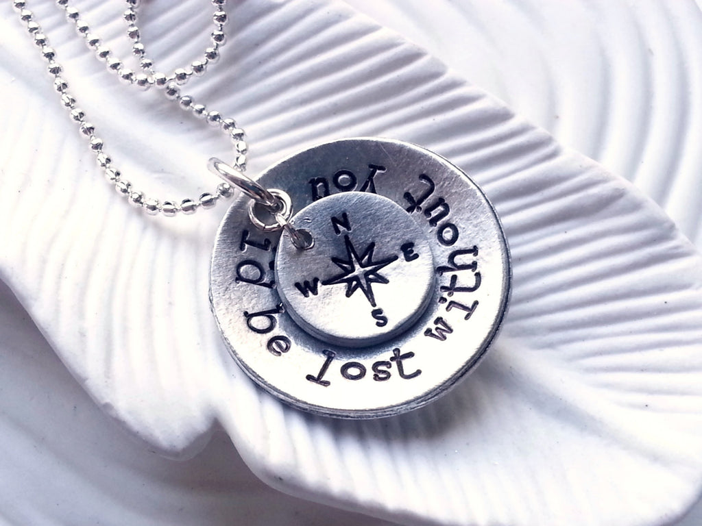 I'd Be Lost Without You - Personalized, Hand Stamped Compass Necklace - Couple's Necklace- Valentine's Day Gift - Gift for Her