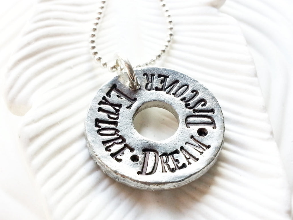 Explore. Dream. Discover - Hand Stamped Mark Twain Quote Washer Necklace - Motivational Jewelry - Personalized Jewelry - Gift for Her