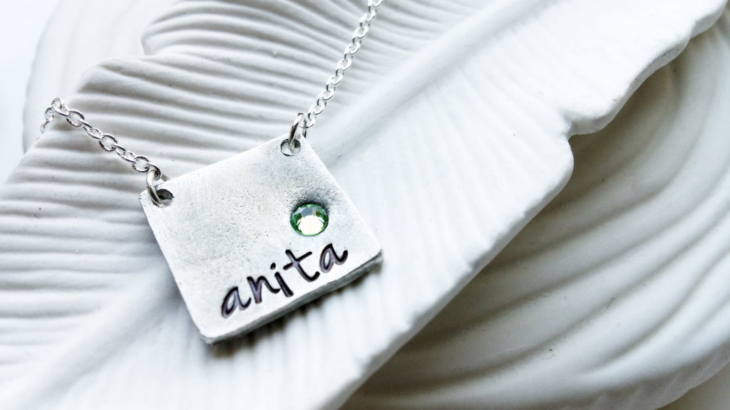 Birthstone Square Bar Necklace - Rustic Necklace with Birthstone - Personalized Name Necklace - Hand Stamped, Personalized Gift for Her